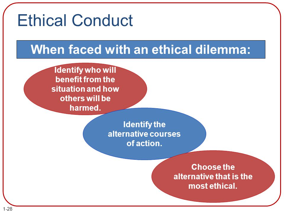 Ethical Conduct When faced with an ethical dilemma: