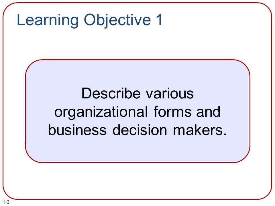 Describe various organizational forms and business decision makers.