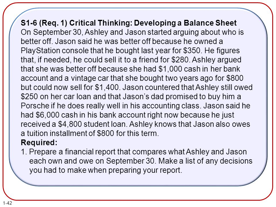 S1-6 (Req. 1) Critical Thinking: Developing a Balance Sheet