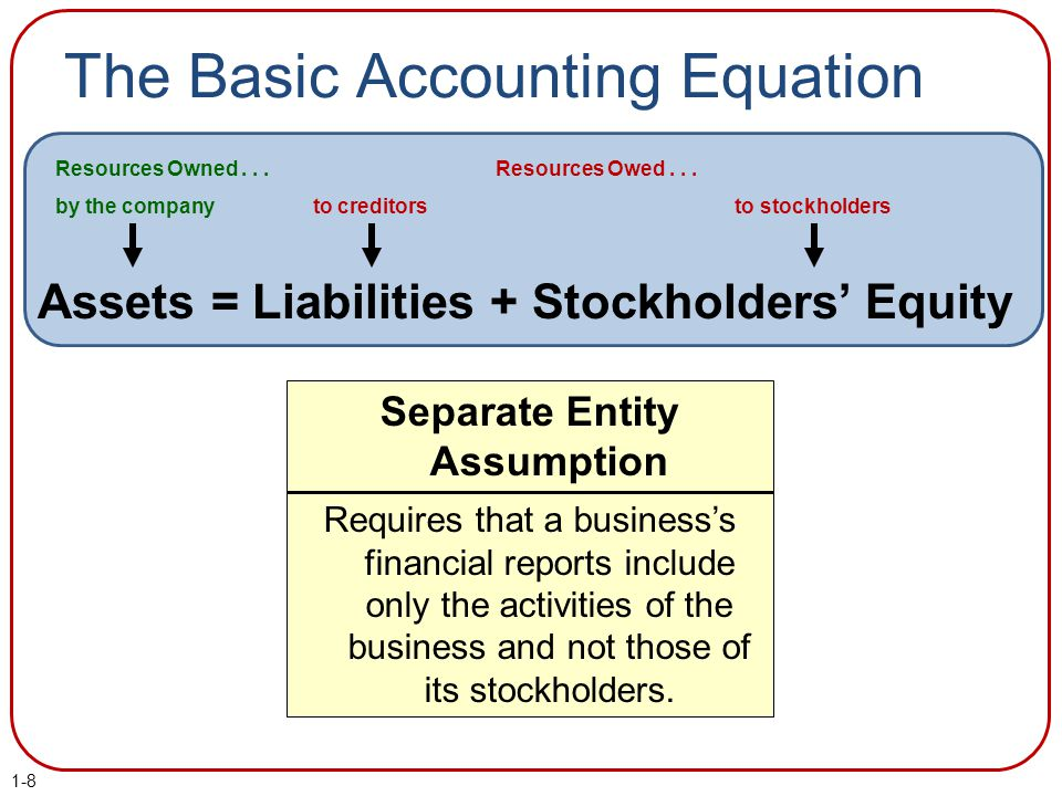The Basic Accounting Equation