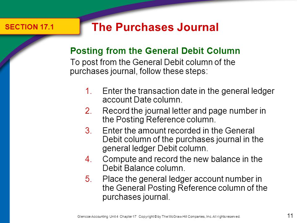 The Purchases Journal SECTION 17.1. Totaling, Proving, and Ruling the Purchases Journal. Complete the purchases journal by following these steps: