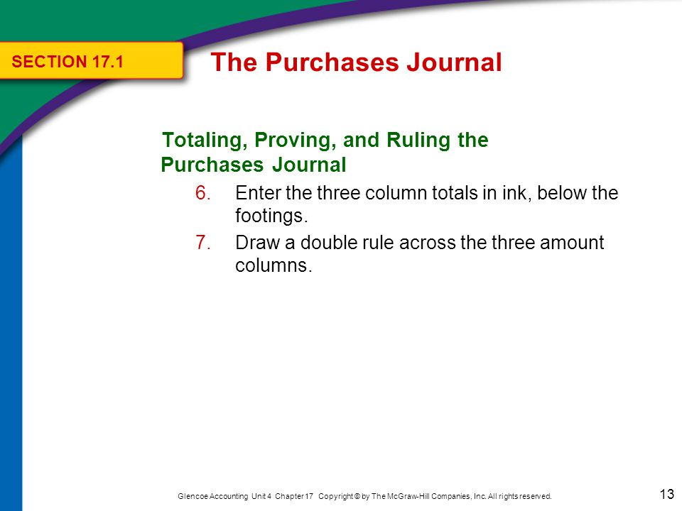 The Purchases Journal SECTION 17.1. Totaling, Proving, and Ruling the Purchases Journal.