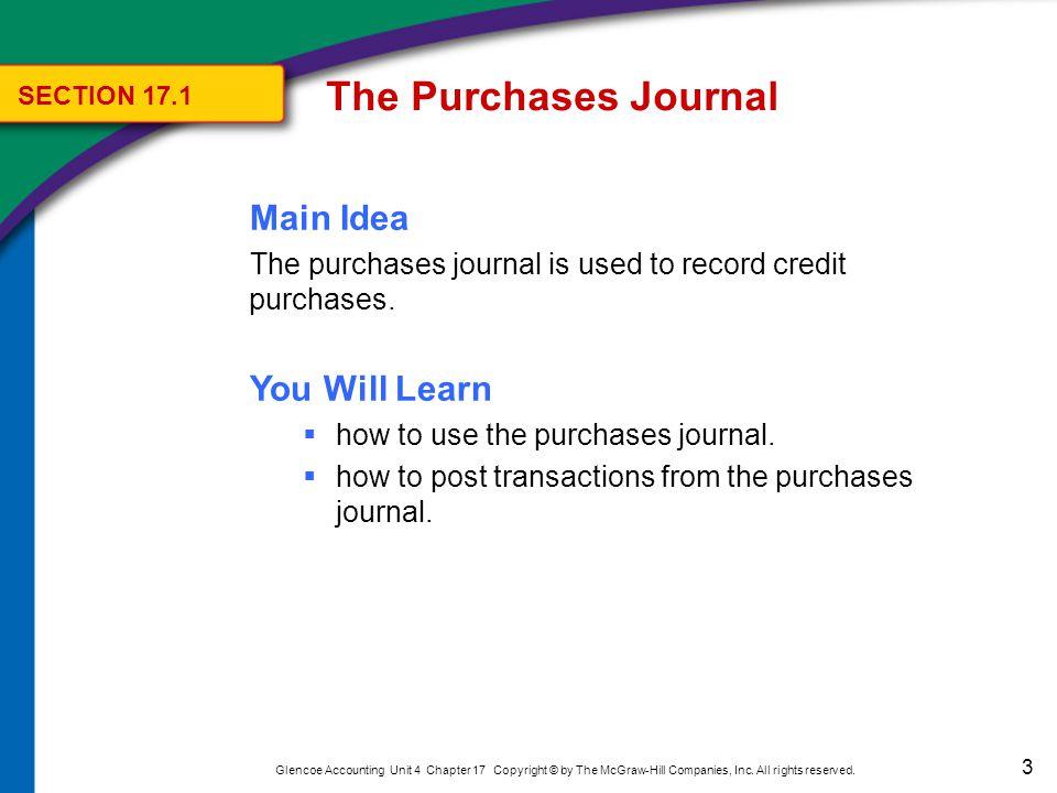 The Purchases Journal Key Terms purchases journal SECTION 17.1