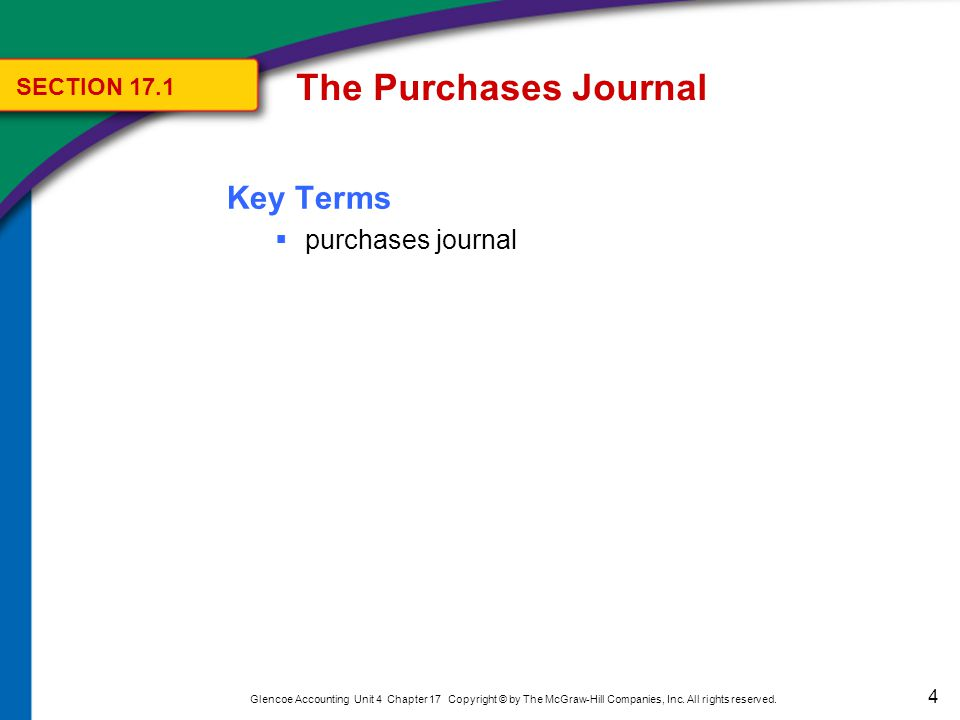 The Purchases Journal Using the Purchases Journal