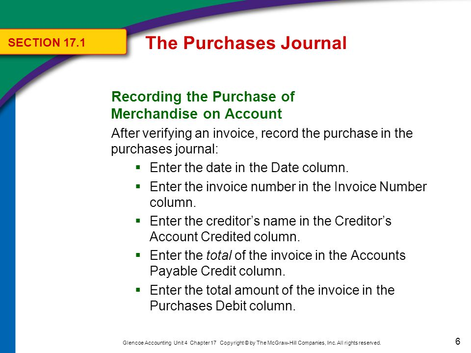 The Purchases Journal Journalizing Other Purchases on Account