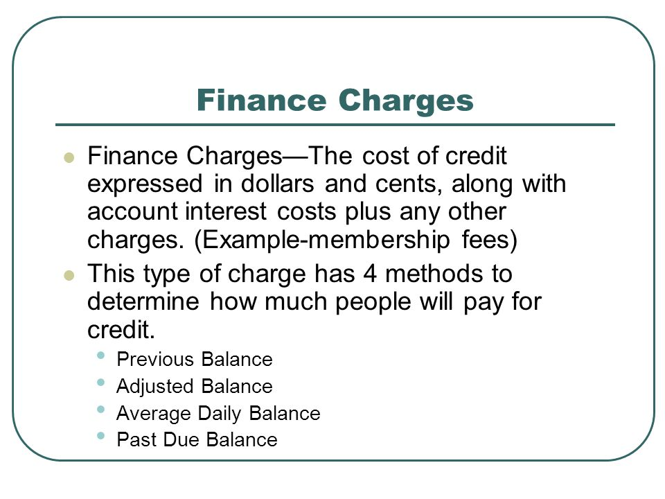 Finance Charges
