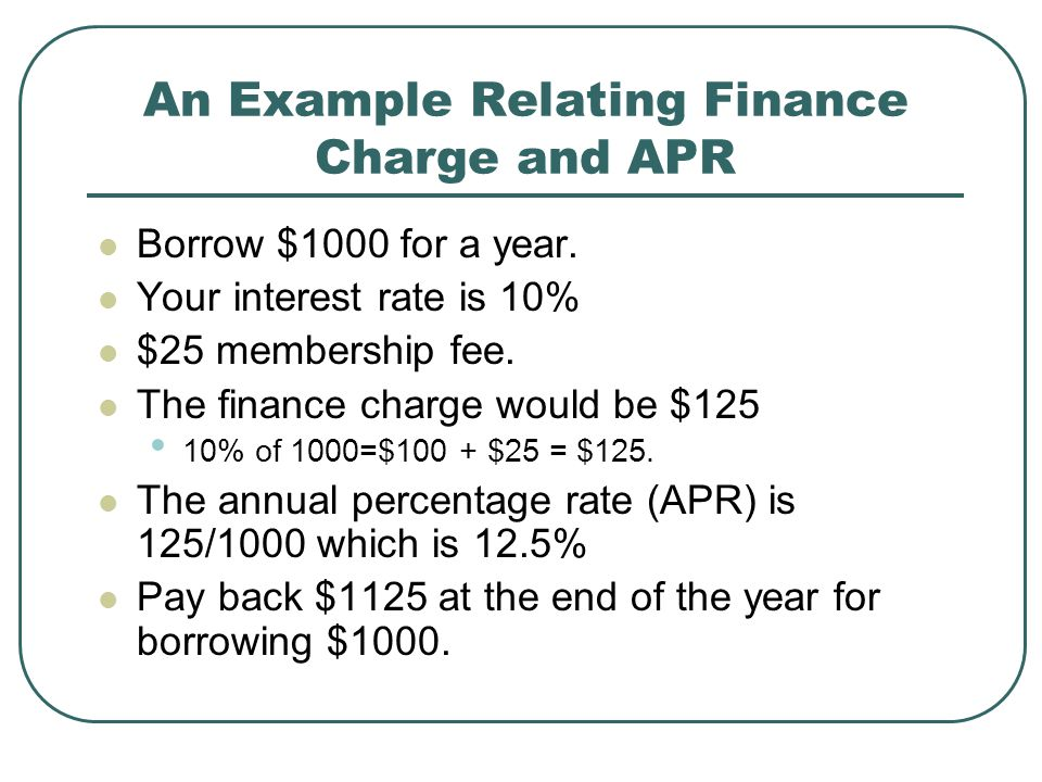 An Example Relating Finance Charge and APR