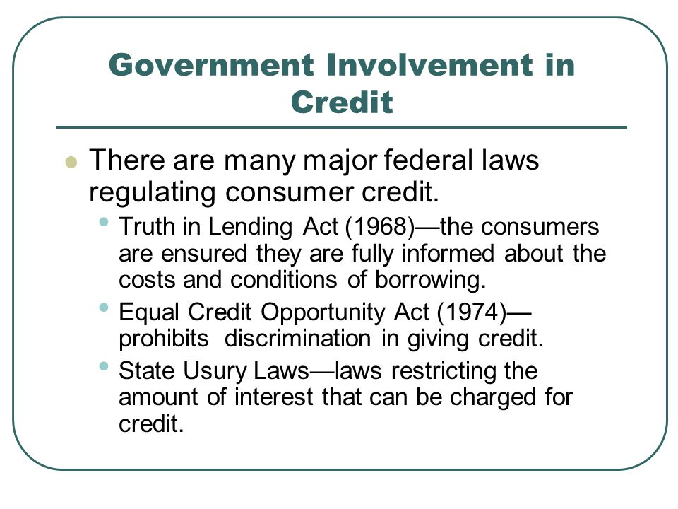 Government Involvement in Credit