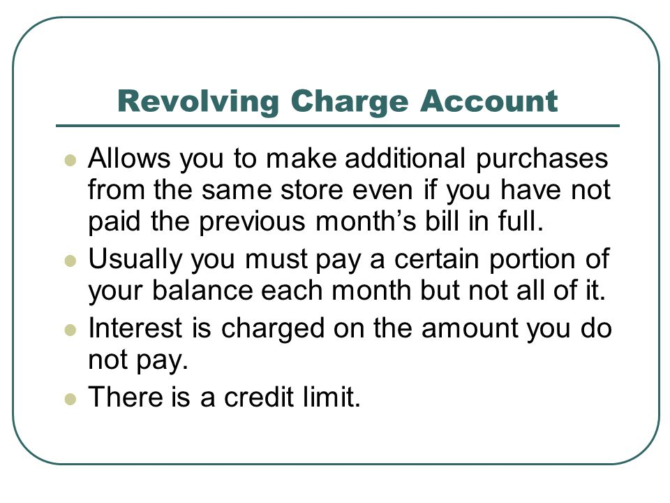 Revolving Charge Account