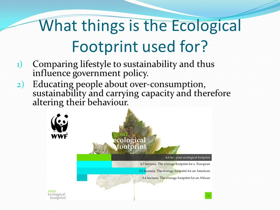 What things is the Ecological Footprint used for