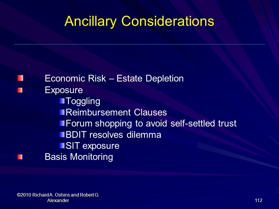Ancillary Considerations