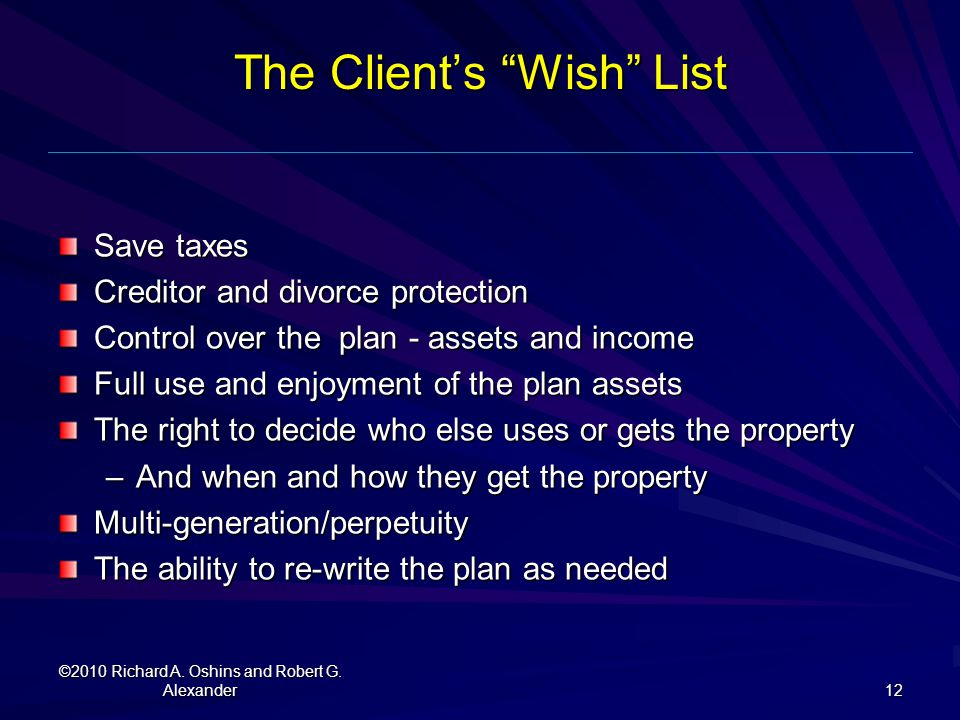 The Client's Wish List