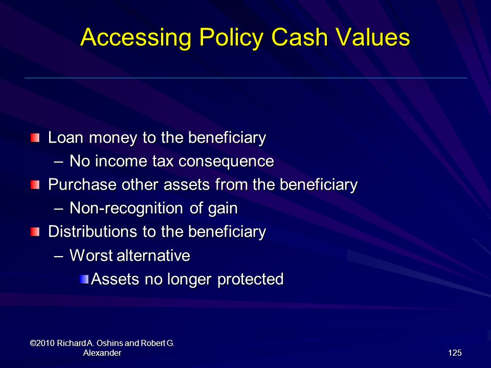 Accessing Policy Cash Values