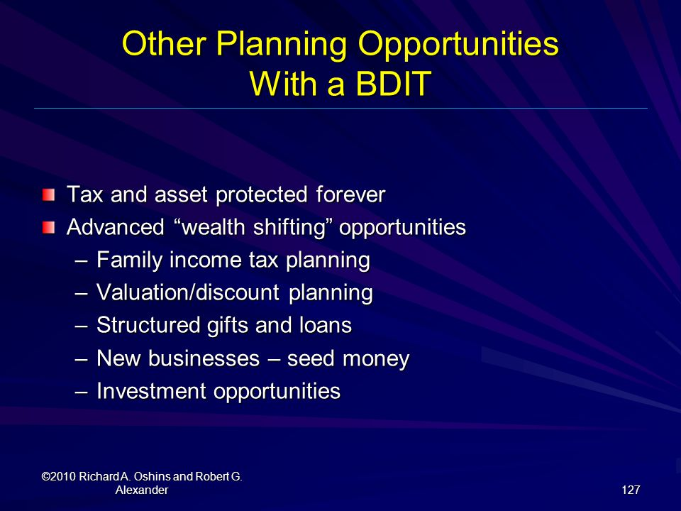 Other Planning Opportunities With a BDIT
