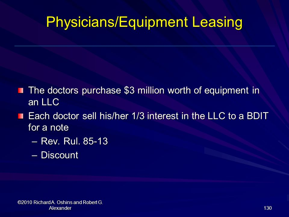 Physicians/Equipment Leasing
