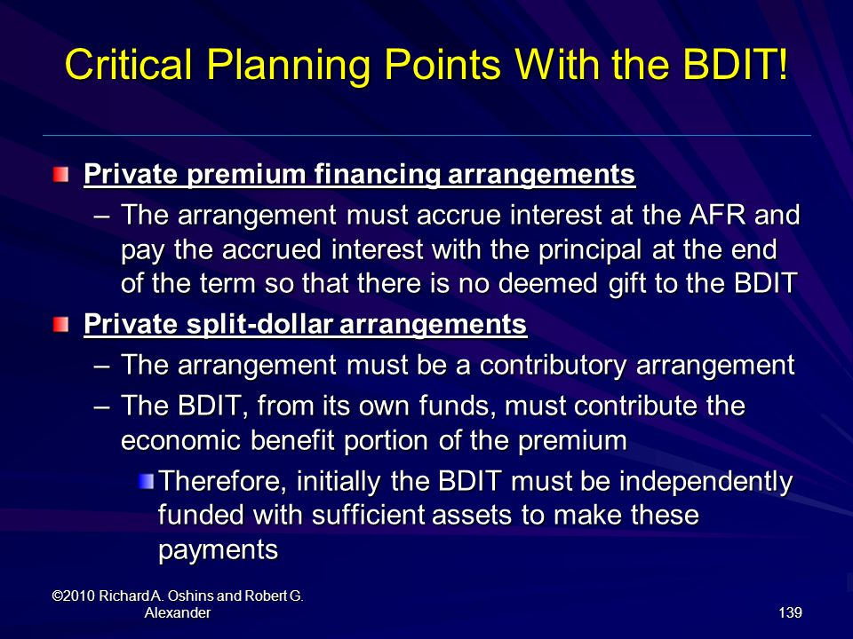 Critical Planning Points With the BDIT!