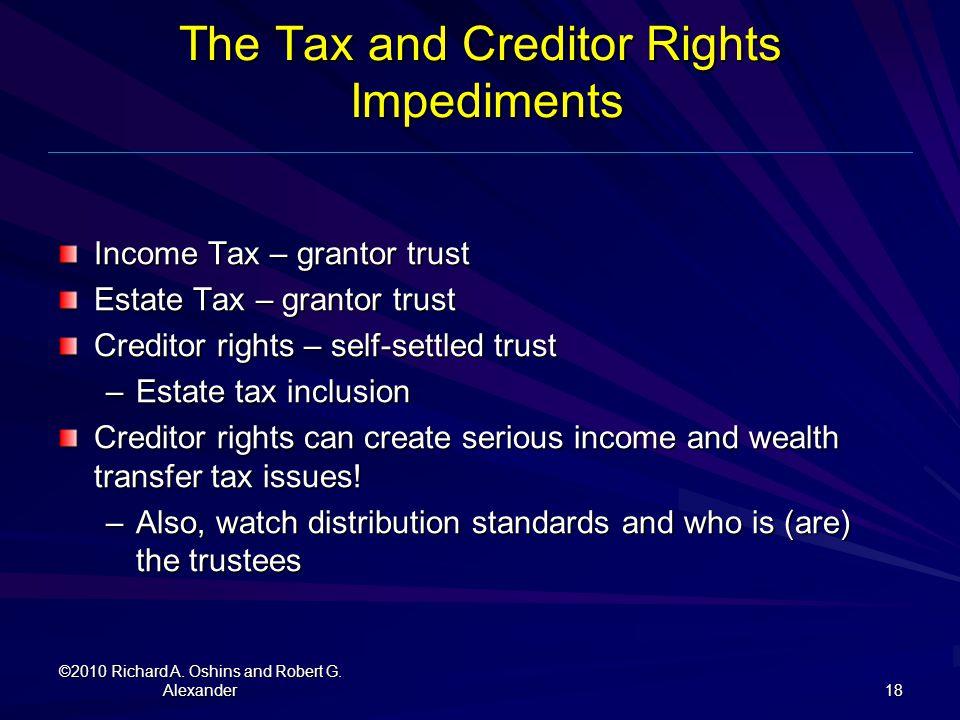 The Tax and Creditor Rights Impediments