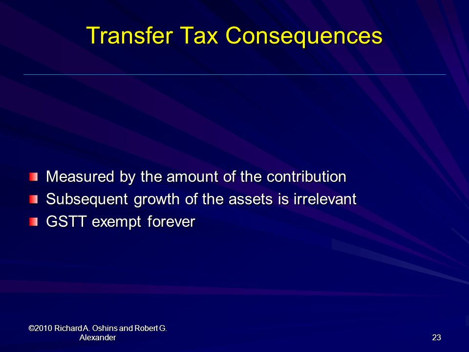 Transfer Tax Consequences
