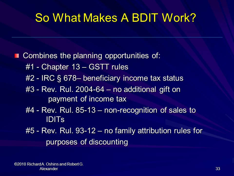 So What Makes A BDIT Work