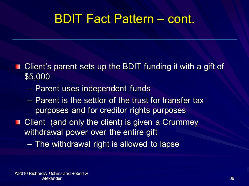BDIT Fact Pattern – cont.