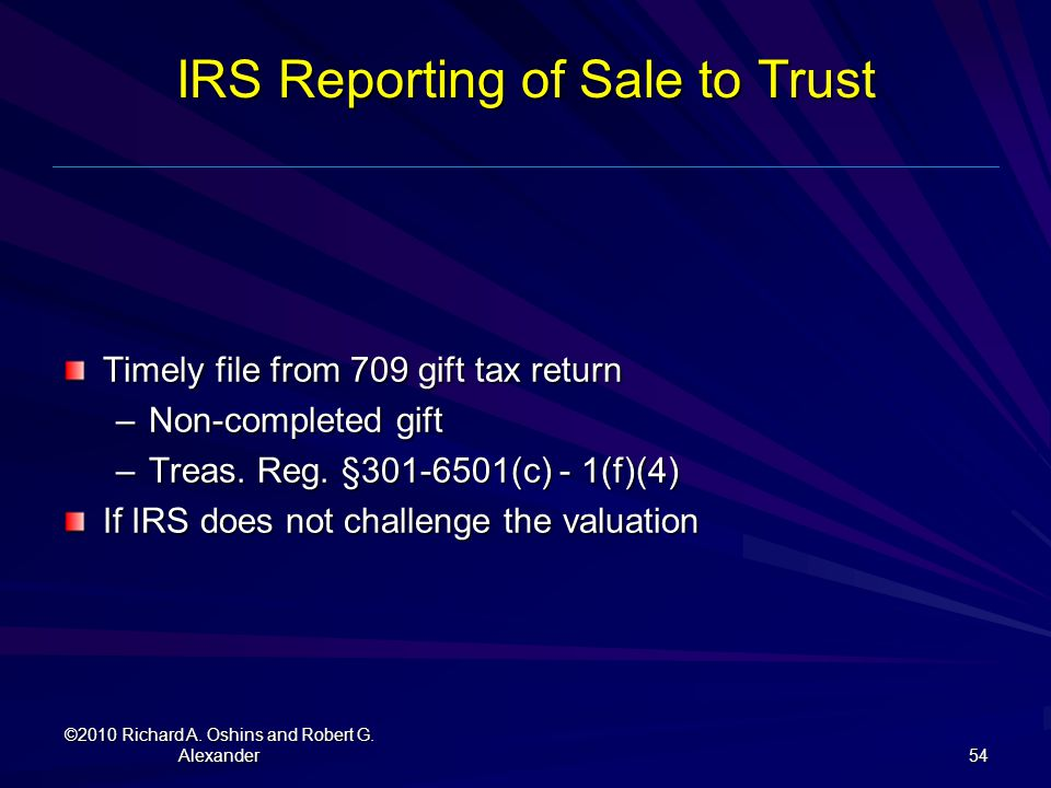 IRS Reporting of Sale to Trust