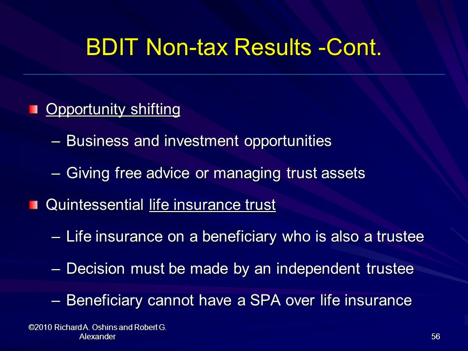BDIT Non-tax Results -Cont.