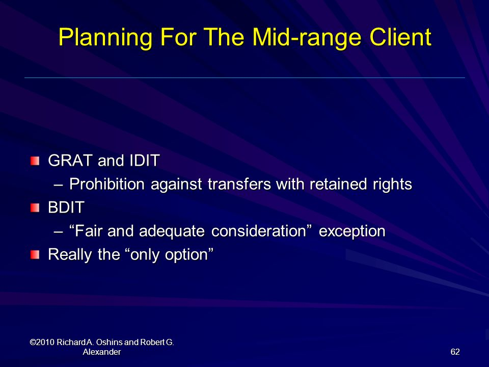 Planning For The Mid-range Client