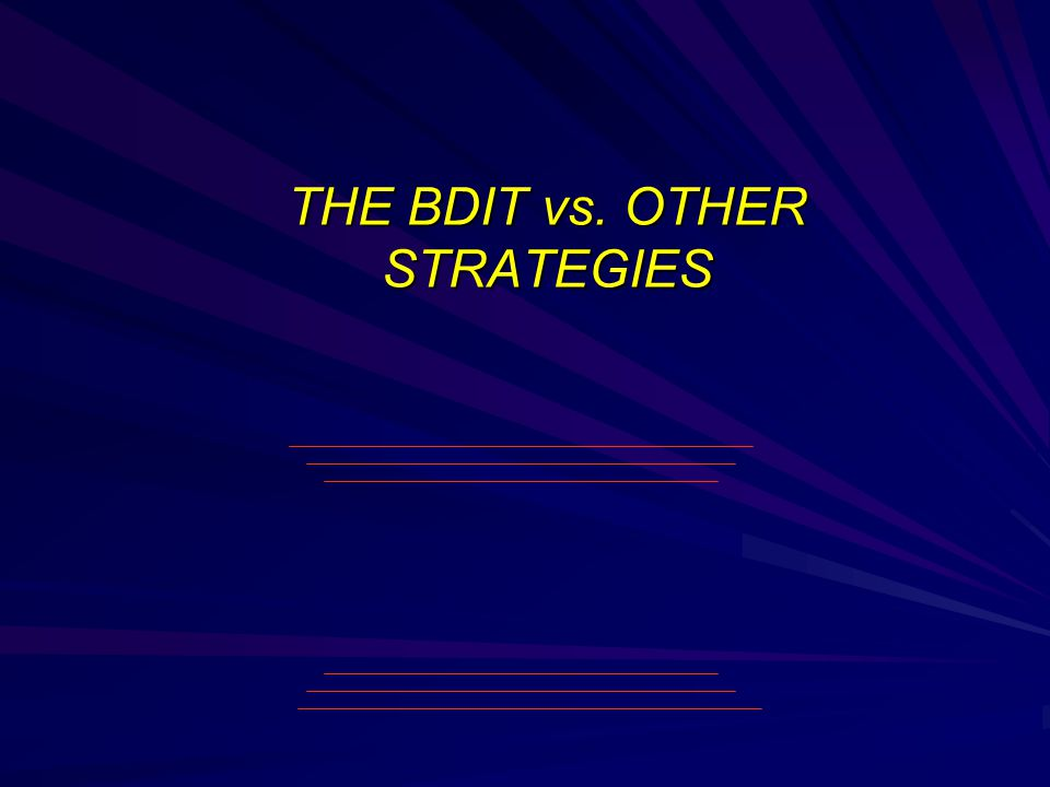 THE BDIT vs. OTHER STRATEGIES