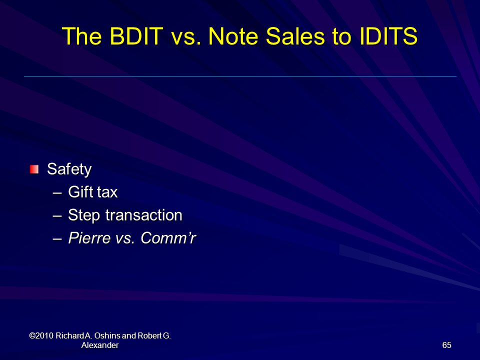 The BDIT vs. Note Sales to IDITS