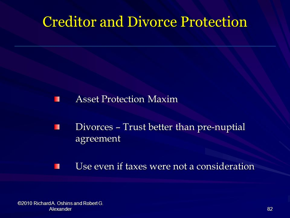 Creditor and Divorce Protection