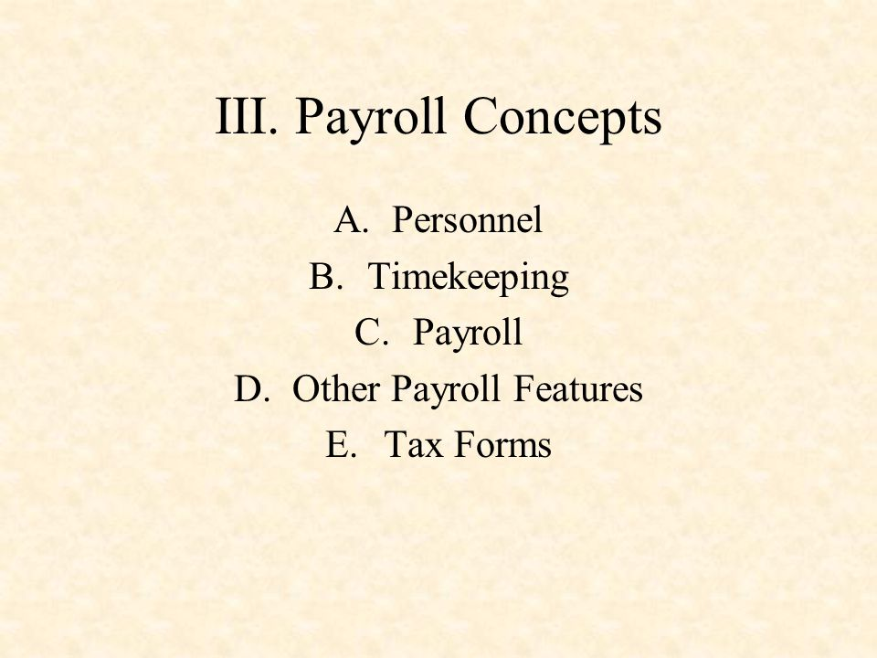 Other Payroll Features