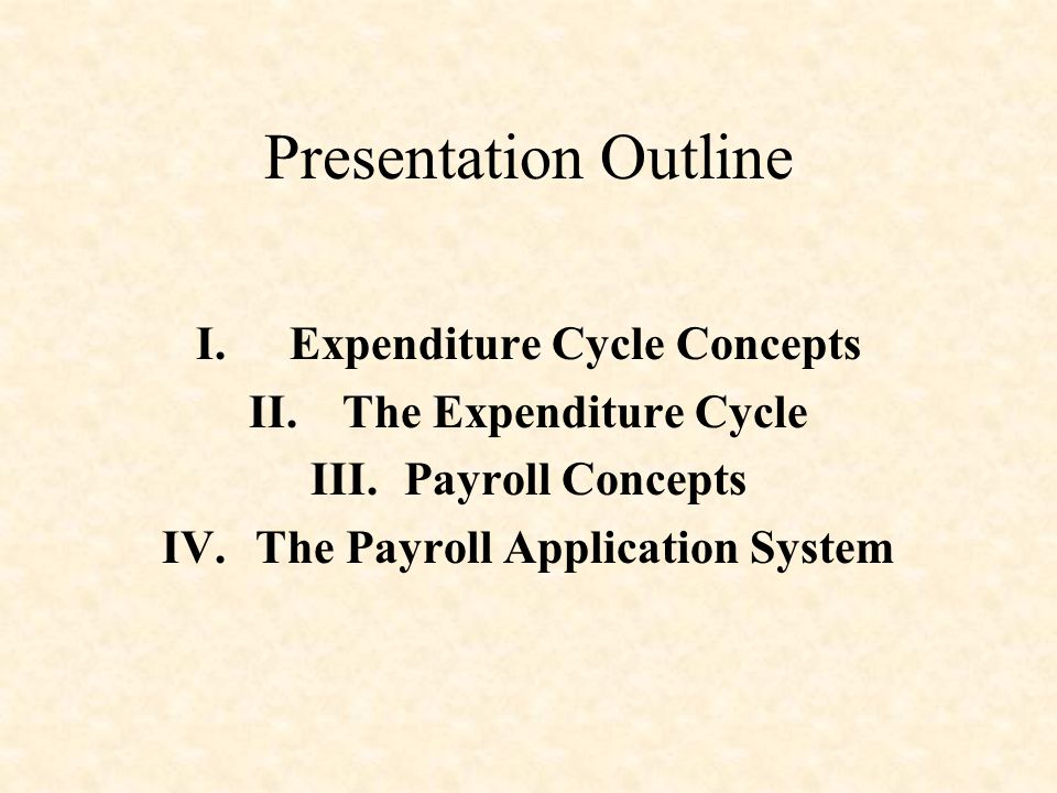 Expenditure Cycle Concepts The Payroll Application System