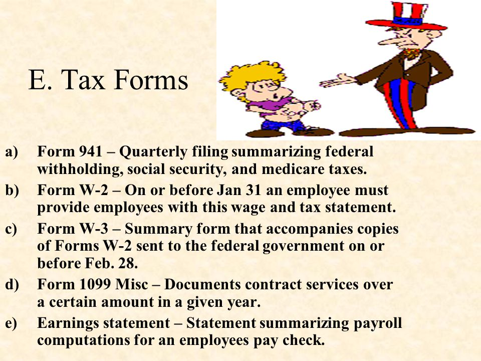 E. Tax Forms Form 941 – Quarterly filing summarizing federal withholding, social security, and medicare taxes.