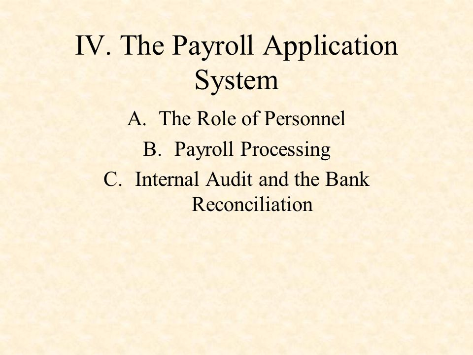 IV. The Payroll Application System