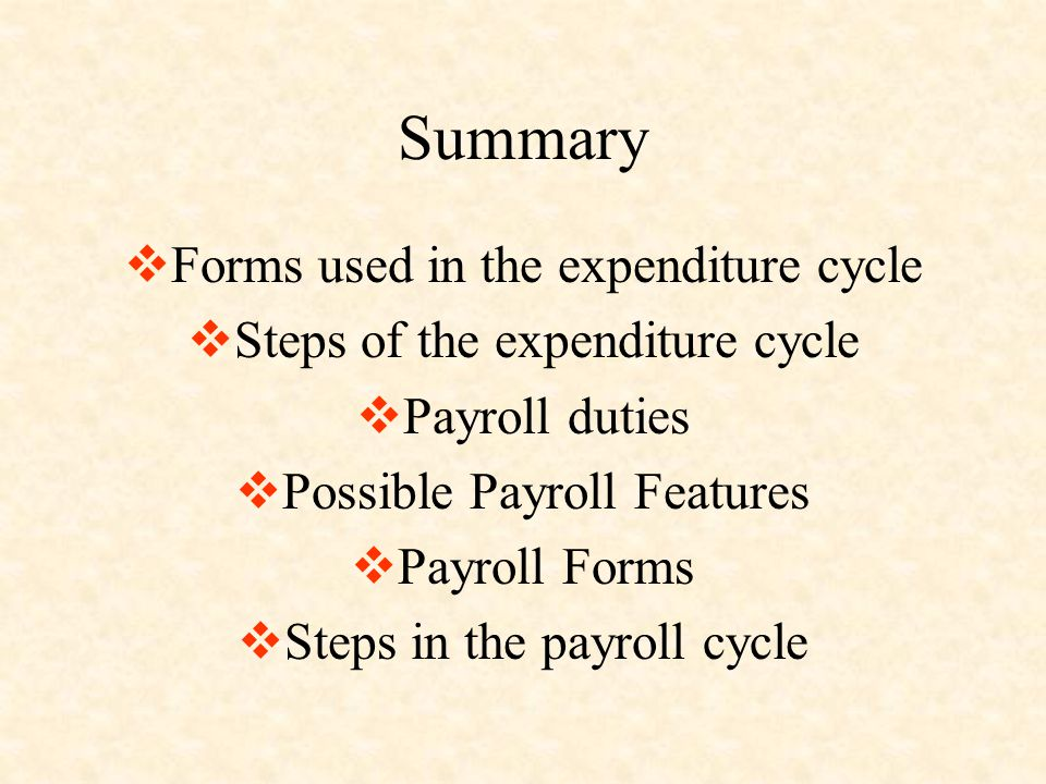Summary Forms used in the expenditure cycle