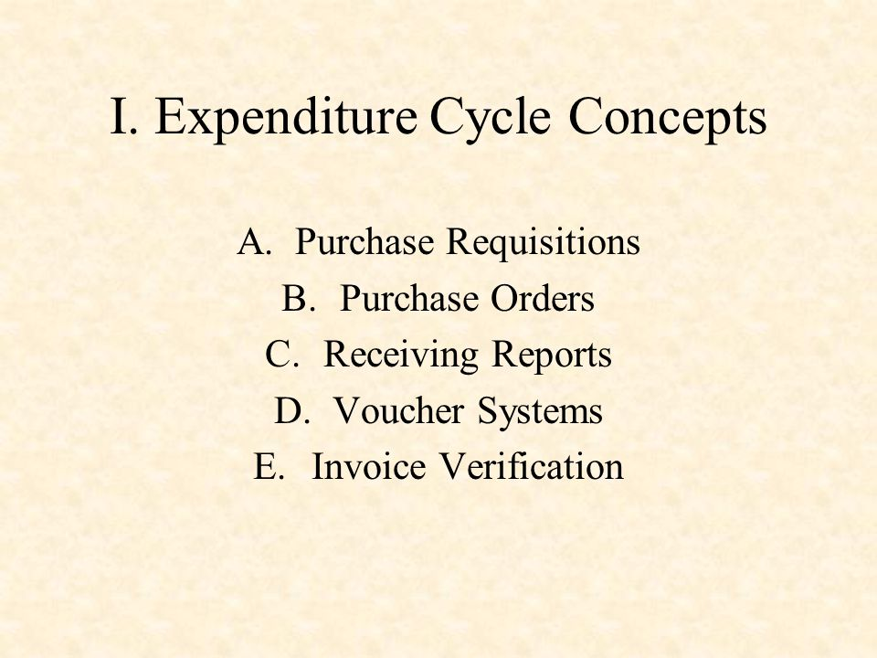 I. Expenditure Cycle Concepts