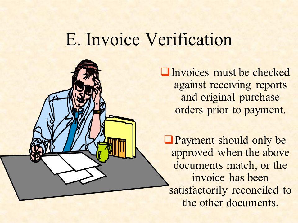 E. Invoice Verification
