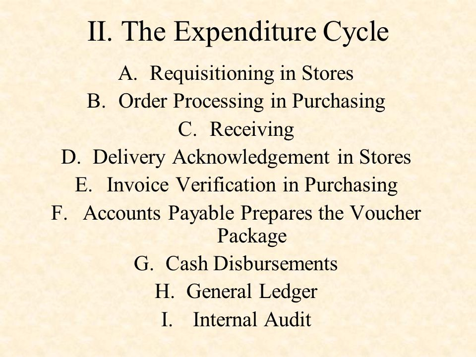 II. The Expenditure Cycle