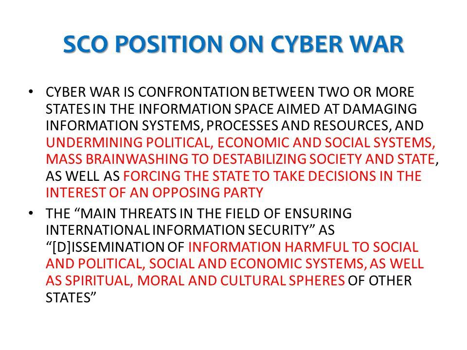 SCO POSITION ON CYBER WAR