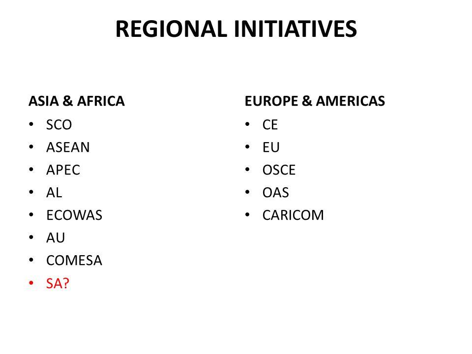 REGIONAL INITIATIVES ASIA & AFRICA EUROPE & AMERICAS SCO ASEAN APEC AL