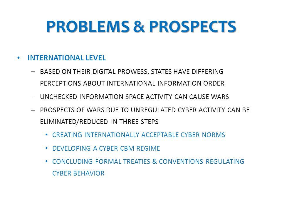 PROBLEMS & PROSPECTS INTERNATIONAL LEVEL