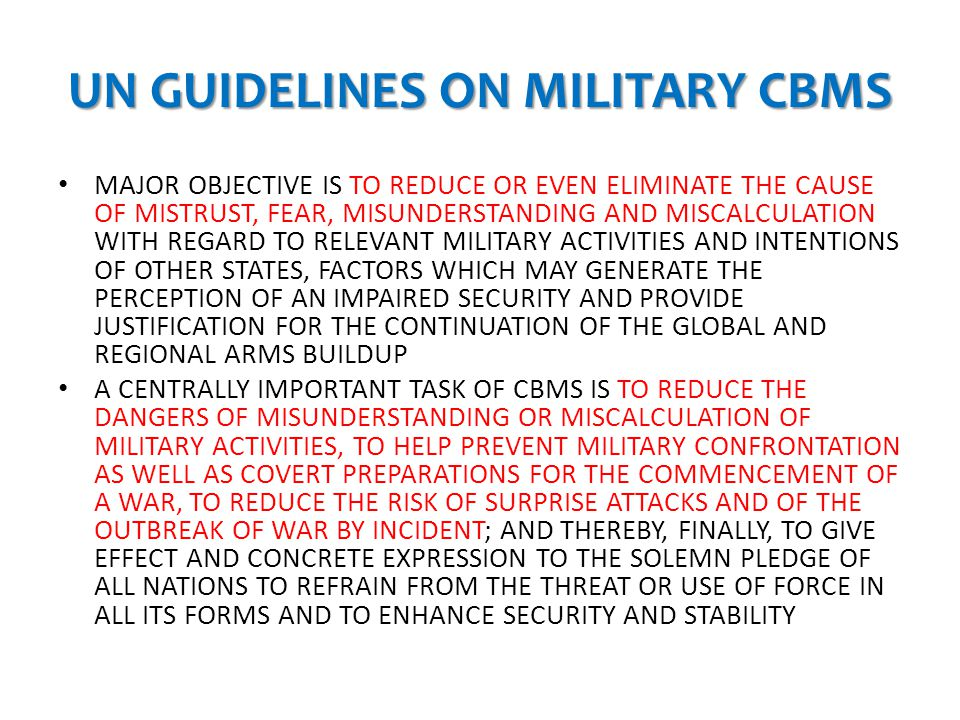 UN GUIDELINES ON MILITARY CBMS
