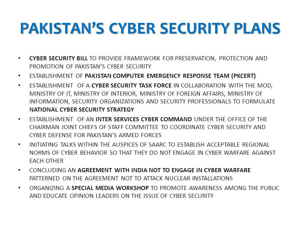 PAKISTAN'S CYBER SECURITY PLANS
