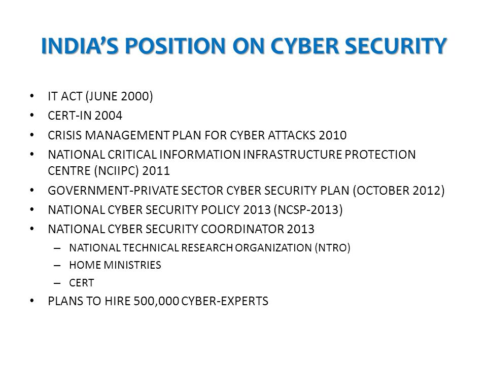 INDIA'S POSITION ON CYBER SECURITY
