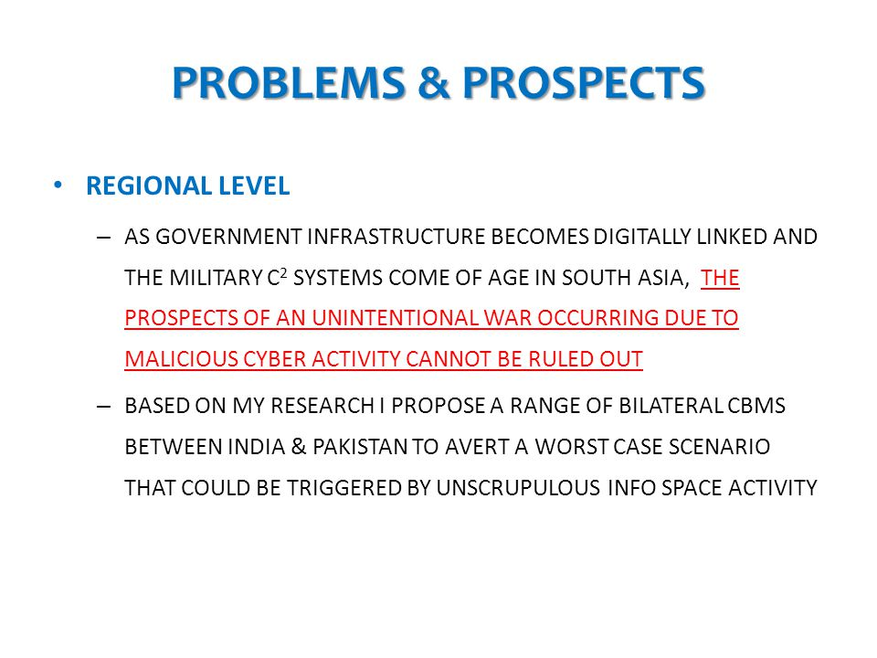 PROBLEMS & PROSPECTS REGIONAL LEVEL