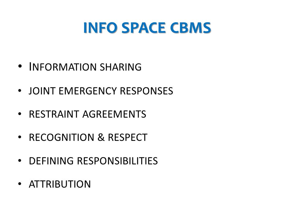 INFO SPACE CBMS INFORMATION SHARING JOINT EMERGENCY RESPONSES