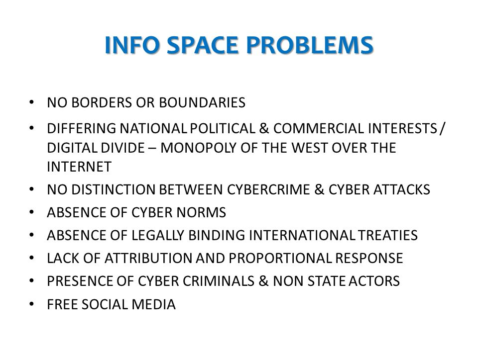 INFO SPACE PROBLEMS NO BORDERS OR BOUNDARIES