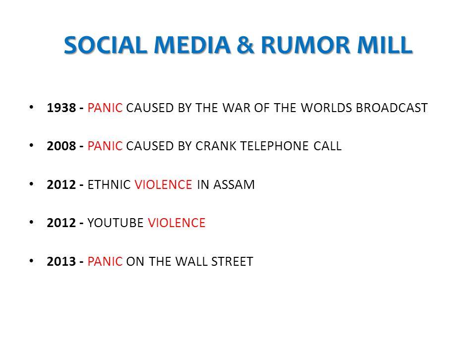 SOCIAL MEDIA & RUMOR MILL