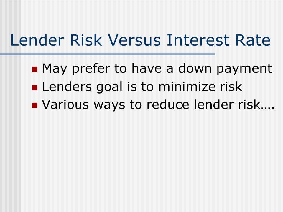Lender Risk Versus Interest Rate