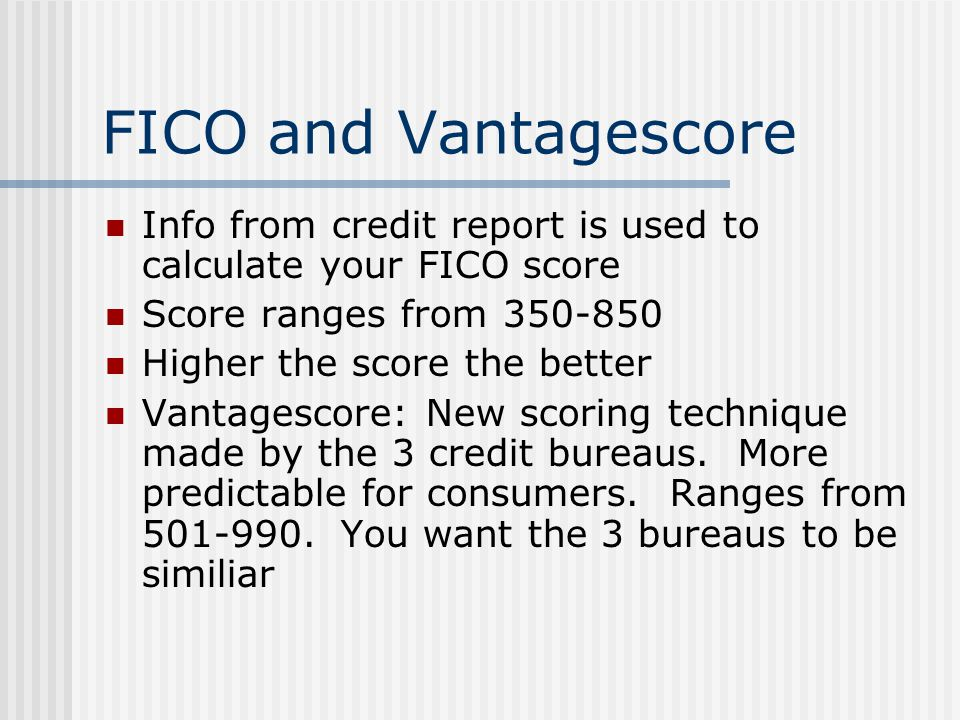 FICO and Vantagescore Info from credit report is used to calculate your FICO score. Score ranges from 350-850.